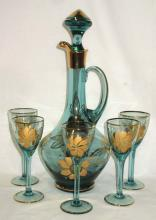 6pc Gold Enameled Wine Set