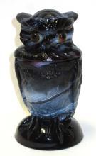 Purple Slag Glass Owl Covered Dish