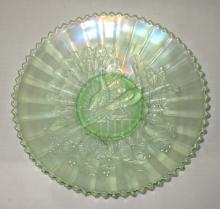 Northwood Ice Green Carnival Glass Plate