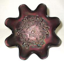 Northwood Star of David Carnival Glass Bowl
