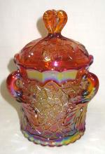 Carnival Glass 3 Handle Covered Dish