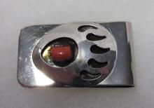 Sterling, Coral Bear Claw Money Clip
