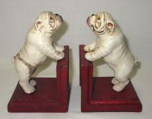 Pr Modern Cast Iron Bulldog Bookends