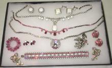 Pretty In Pink Rhinestone & Milk Glass Rhinestone jewelry 11 pc