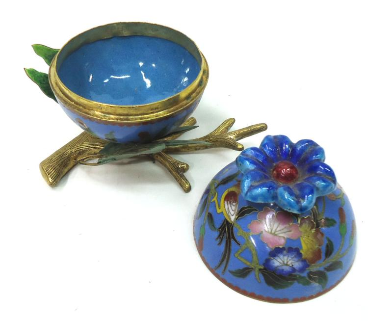 Cloisonn jar on stand for Cloison stand