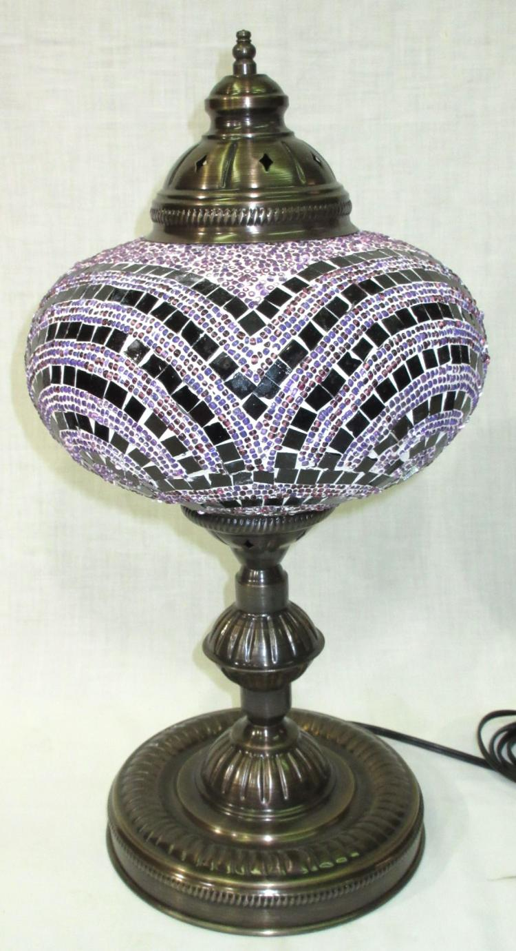mosaic glass shade lamp. Black Bedroom Furniture Sets. Home Design Ideas