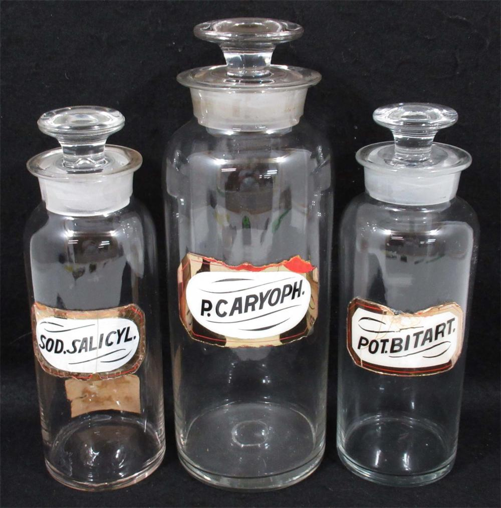 3 Apothecary Jars w/ Glass Labels