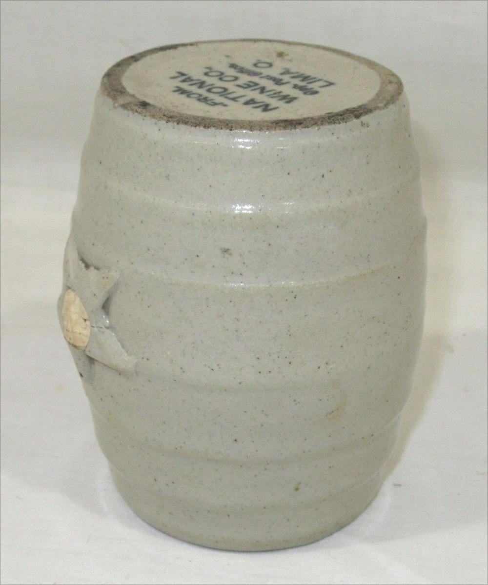 Miniature Stoneware Advertising Barrel Jug