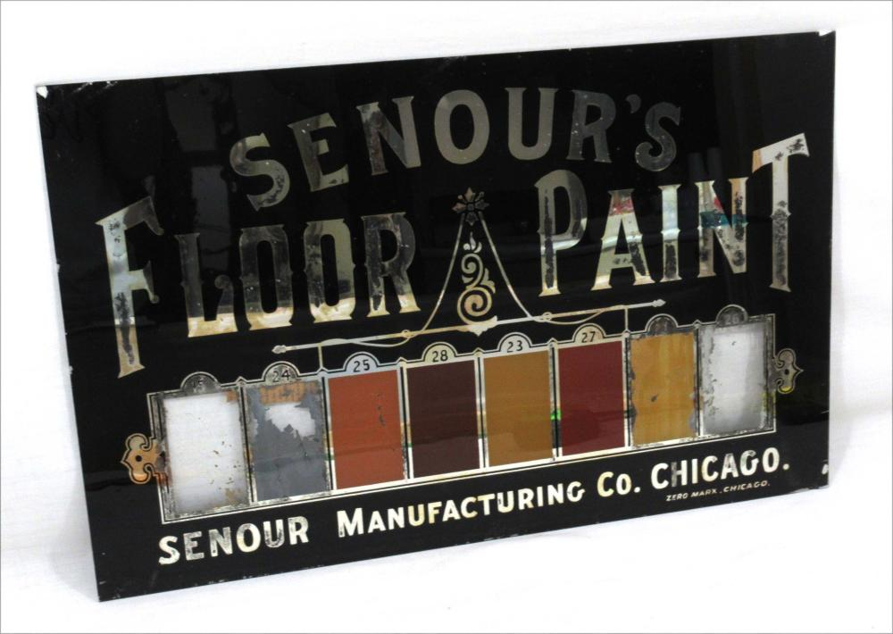 1890's Glass Senour's Paint Glass Sign