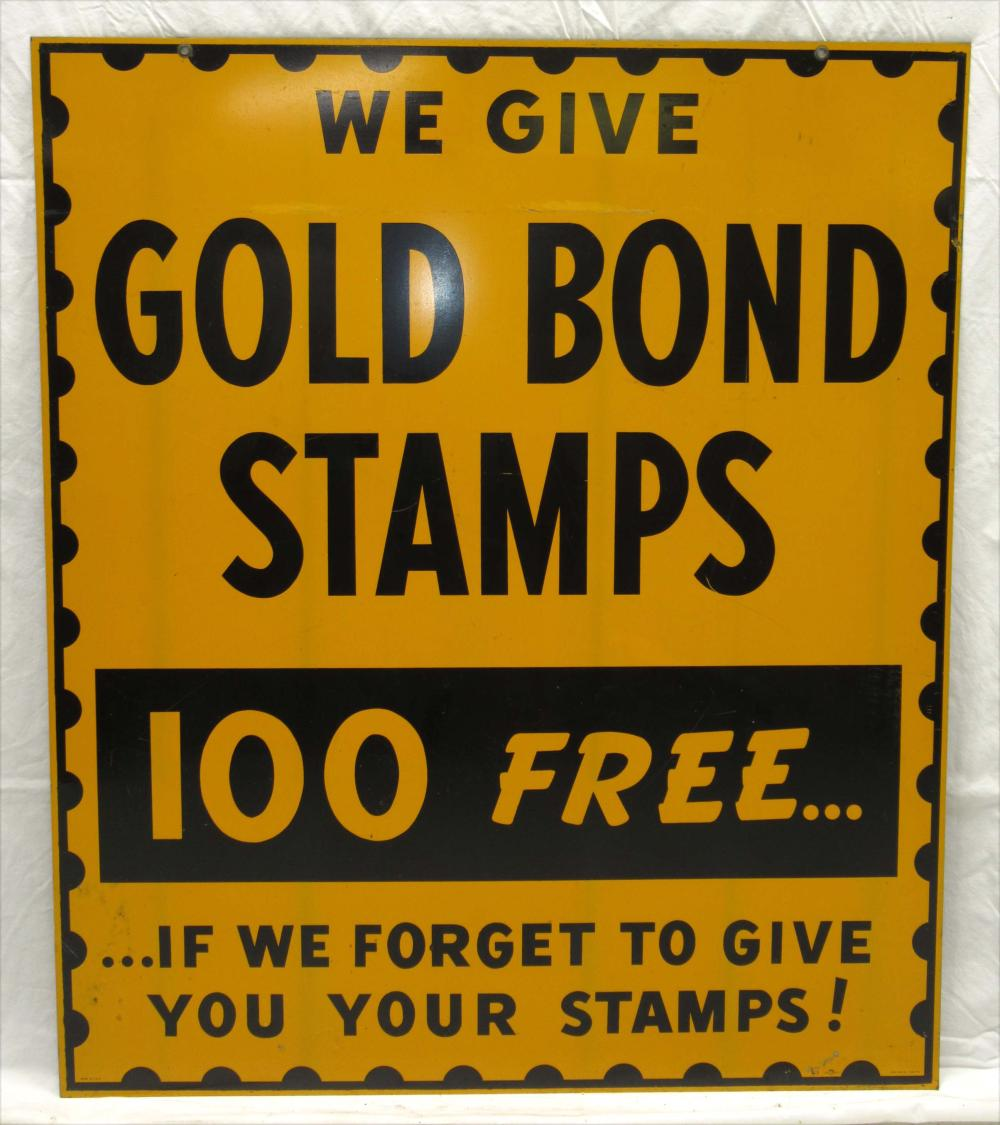 Gold Bond Dbl. Sided Stamps Sign
