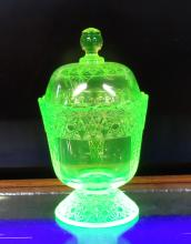 Mosser Vaseline Glass Dish w/ Lid