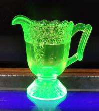 Mosser Vaseline Glass Pitcher