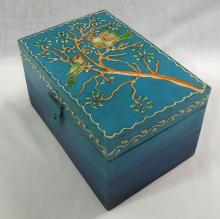 Wooden Box w/ Enameled Bird Decoration
