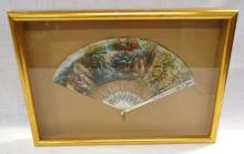 Great Antique MOP Fan w/ H.P. Scene