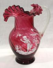 Modern Cranberry Swirl Mary Gregory Pitcher