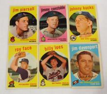 (6) 1959 Topps Baseball Cards