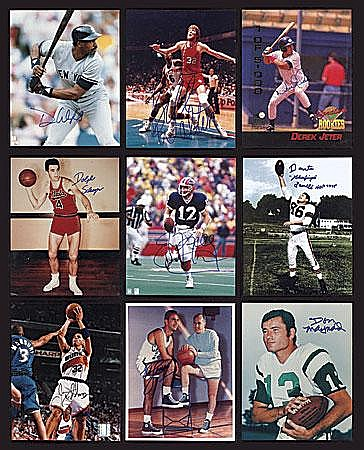 Multi Sport Signed Photos Collection (239) Including Cousy, Lemieux, Montana and T. Williams