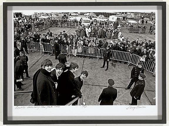 Signed Beatles Arriving in NY 1964 Photo