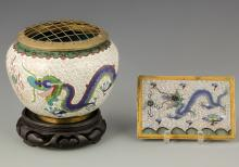 2 Chinese Cloisonne Items with Dragon Motifs