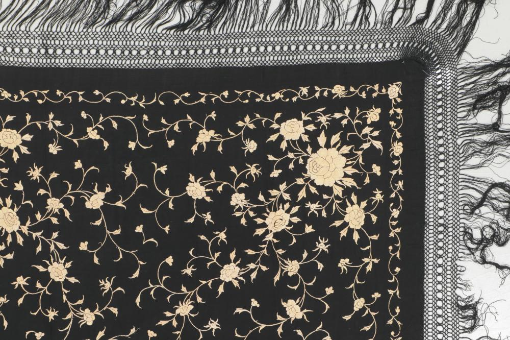 Antique Silk Embroidered Chinese Shawl