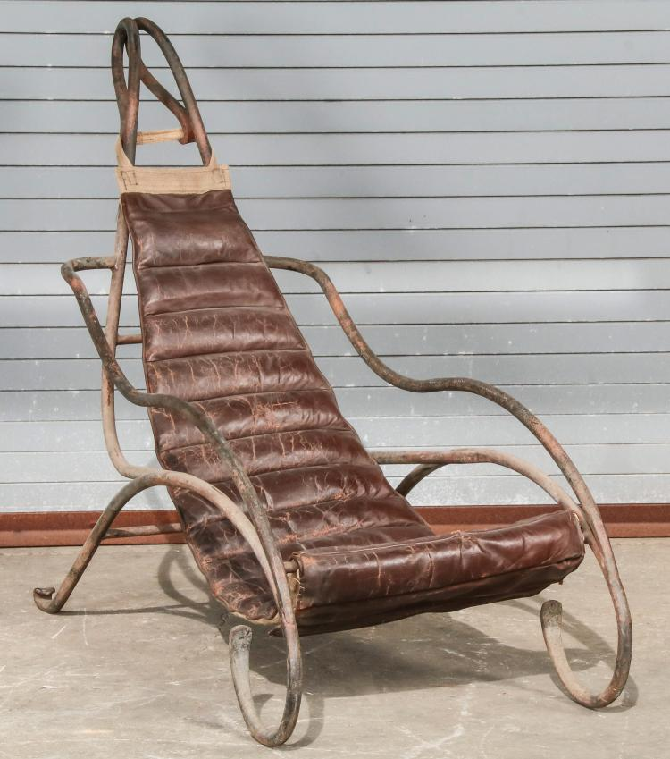 antique wrought iron sling lounge chair. Black Bedroom Furniture Sets. Home Design Ideas