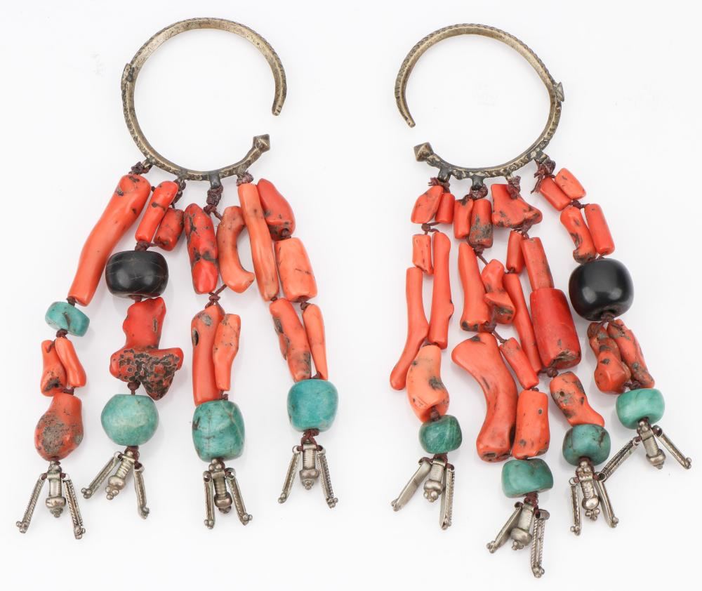 Antique Moroccan Berber Coral and Turquoise Earrings