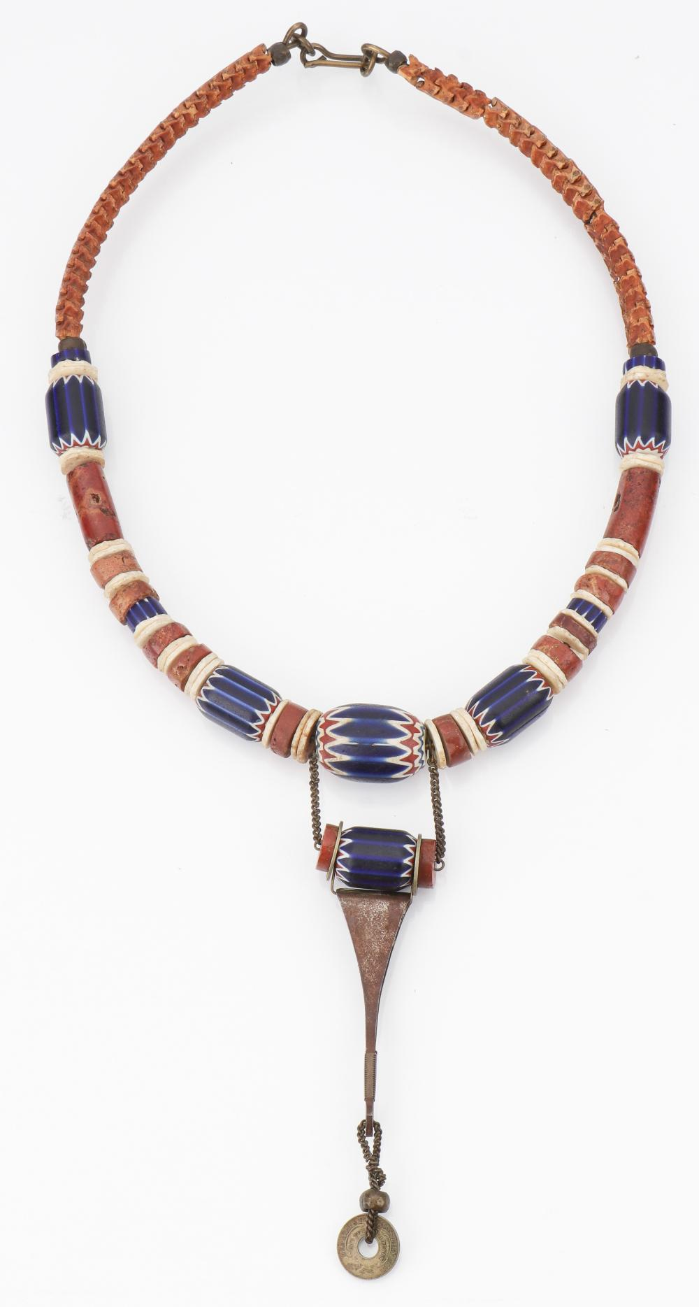 African Necklace with Antique Chevron Beads and Coin