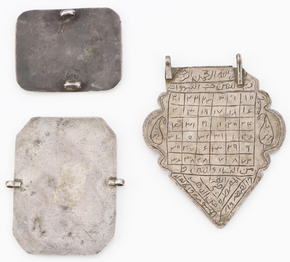 3 Antique Silver Persian Islamic Amulets, Late 19th-Early 20th C.