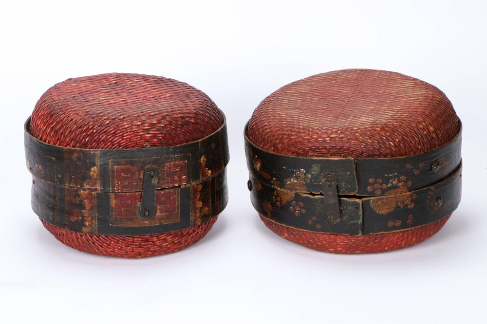 Two Chinese Round Woven Wicker Covered Baskets