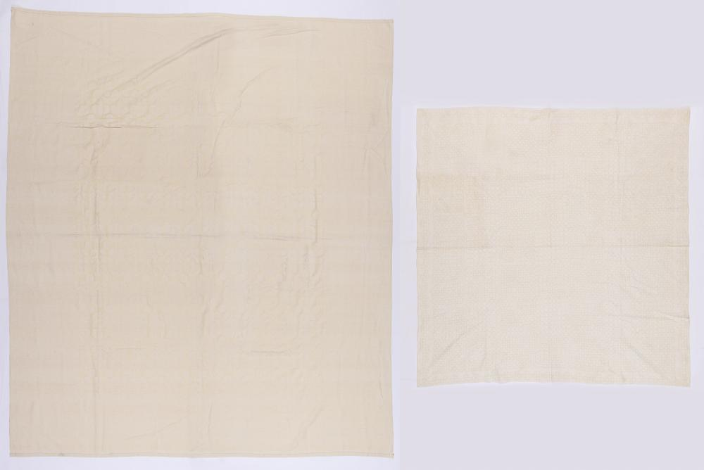 2 Large Indian Hand Woven Cotton Textiles, 2nd Half 20th C.