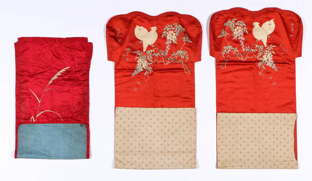 3 Embroidered Silk Chair Covers, China, 19th C.