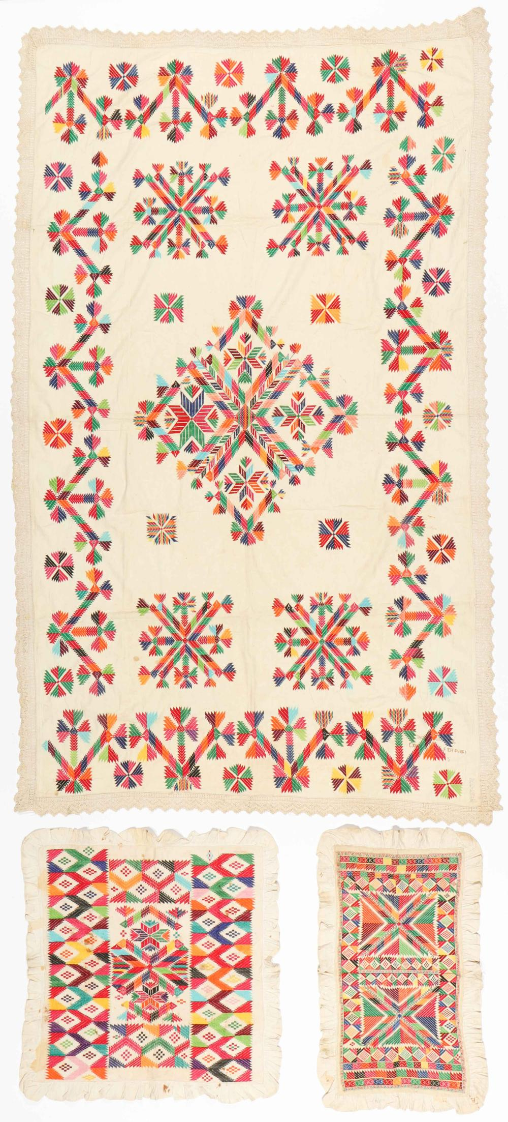 3 Old Embroidered Textiles, India