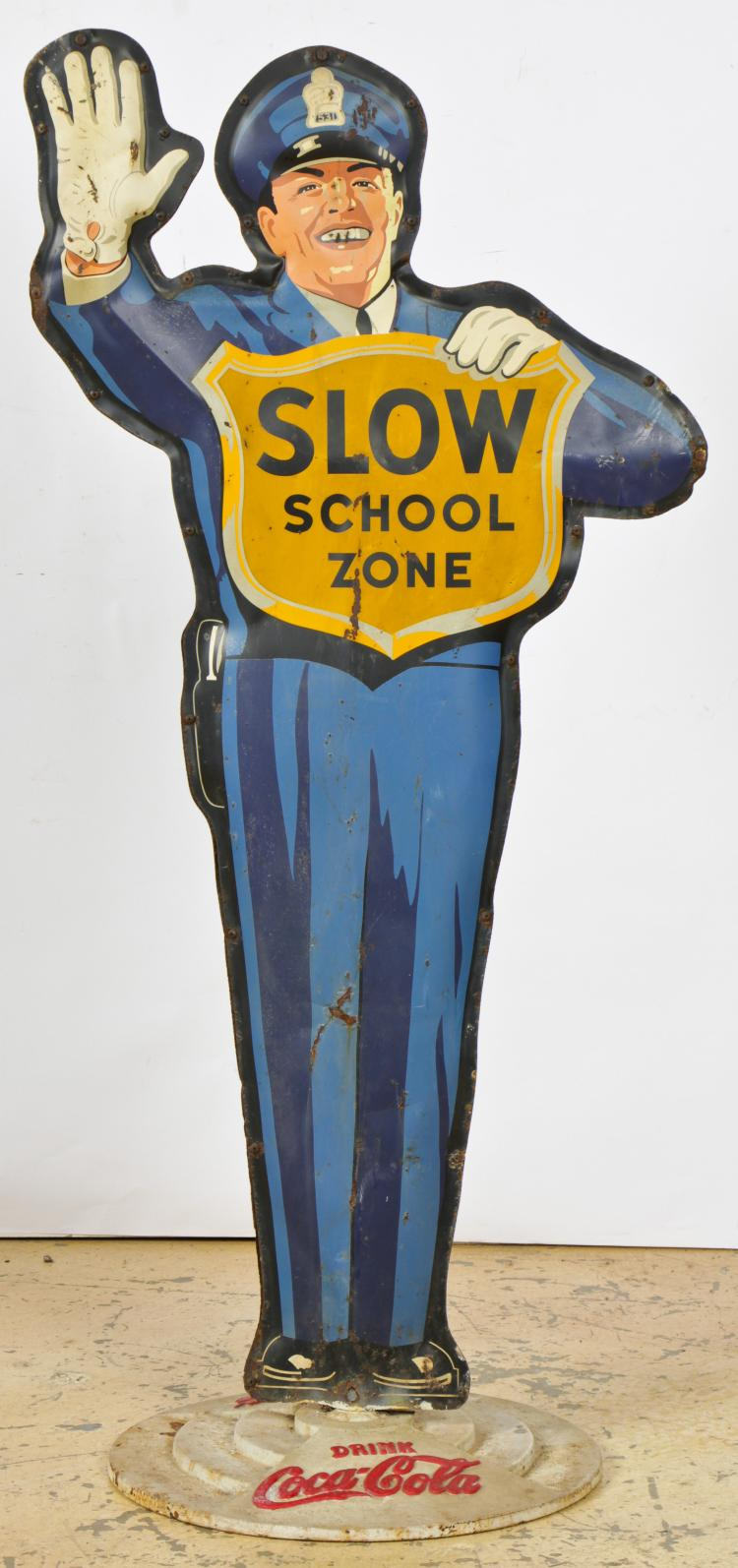 Vintage Coca Cola Police Man Sign