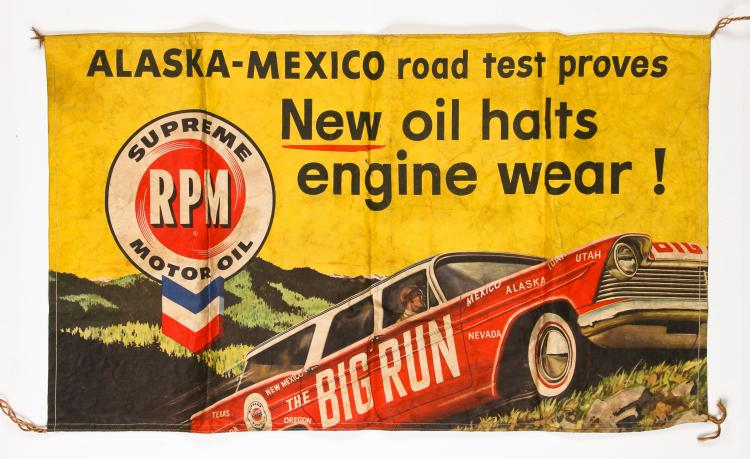 RPM Supreme Motor Oil Big Run Advertising Banner