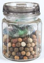 Glass Humidor of Antique Clay and Glass Marbles