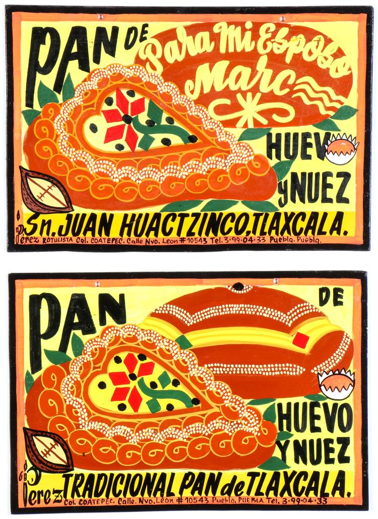 2 Mexican Pan De Huevos Y Nuez Advertising Signs