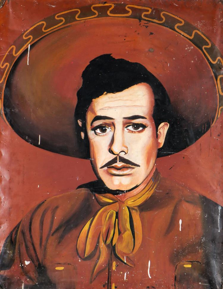 Vintage Mexican Trade Sign of Film Idol Pedro Infante