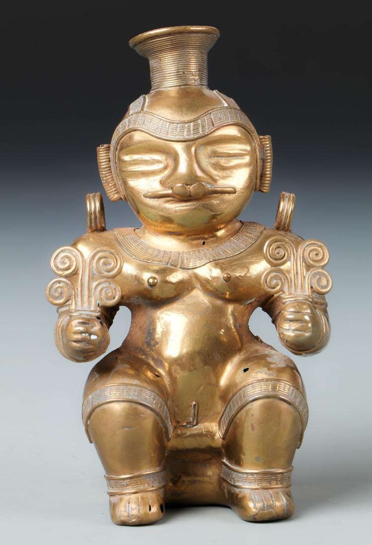 Tairona Gold Alloy Female Statue (1000-1500 CE)