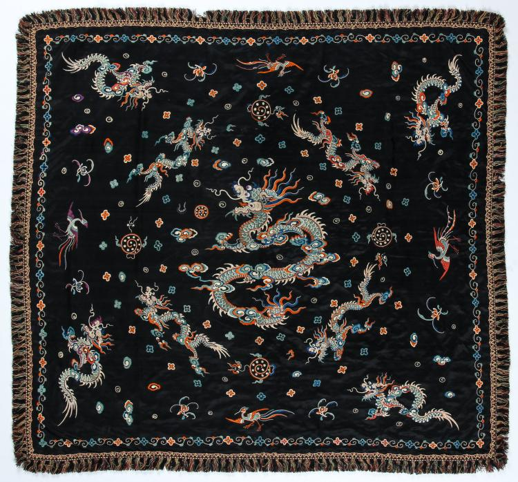 Fine Antique Chinese Silk Embroidered Dragon Panel