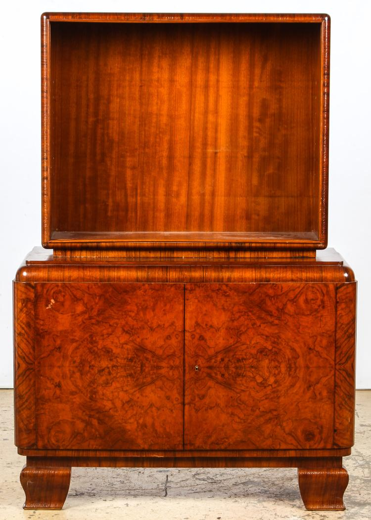 Burl Veneer Art Deco Hutch