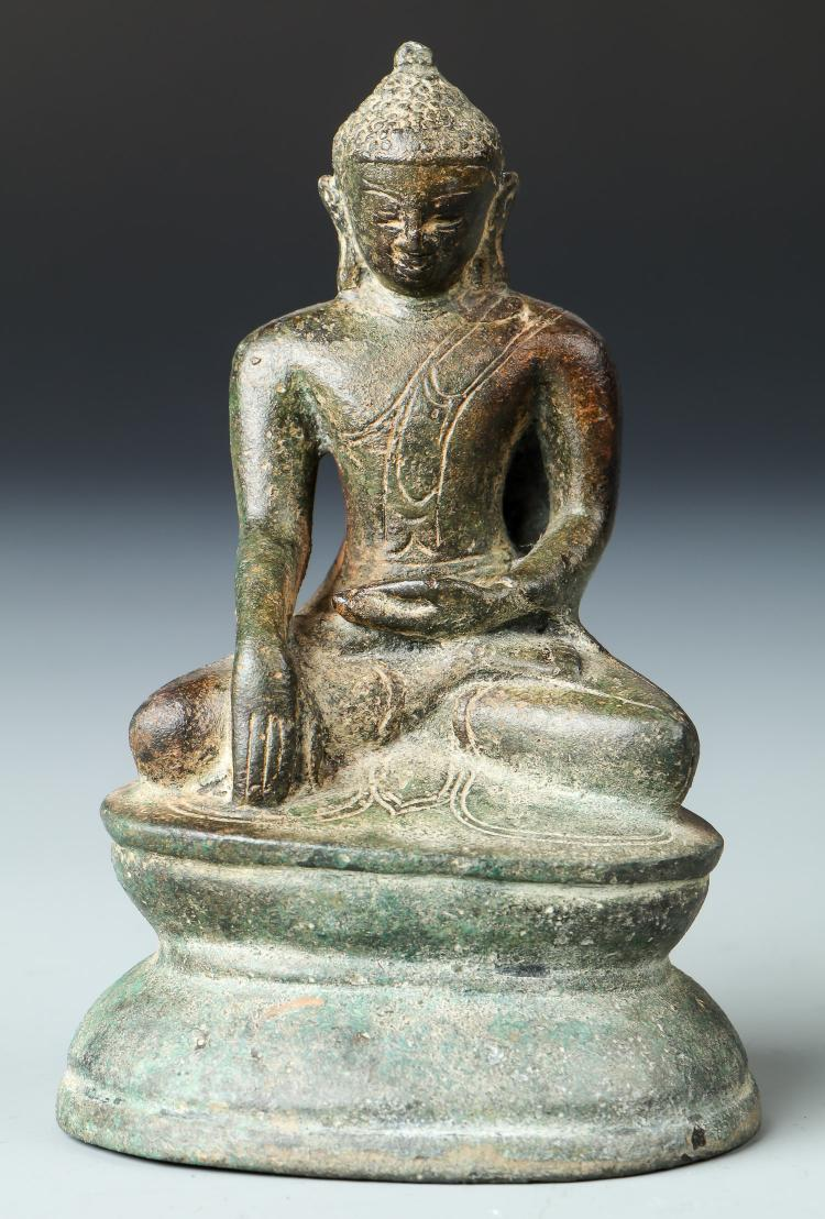 18th C. Statue of a Bronze Seated Buddha, Laos