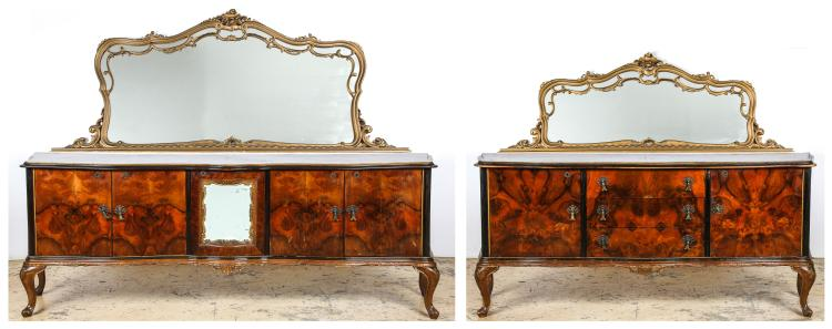 2 Matched Continental Mirror Back Sideboards