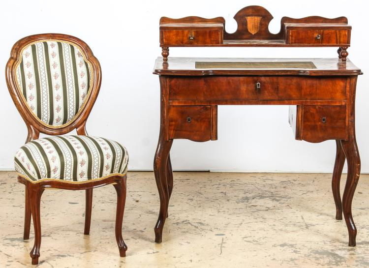Continental Louis Philippe Style Desk and Chair