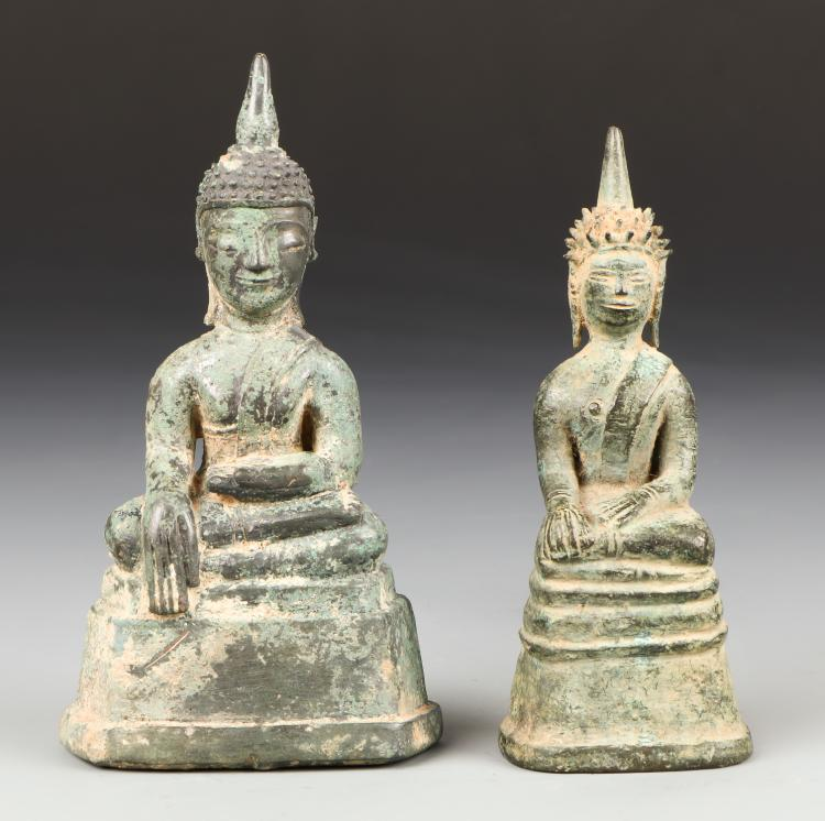 Two 18th C. Bronze Buddha Statues, Laos