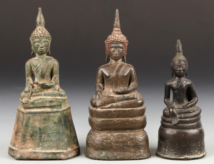3 Antique Bronze Laos Buddha Statues, 18th/19th C