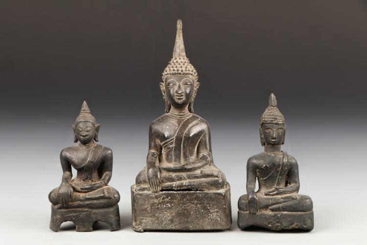 1 Thai and 2 Laos Bronze Buddhas, 18th/19th C