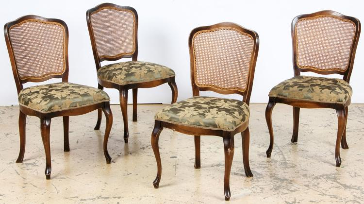 4 French Louis XV Style Caned Back Side Chairs