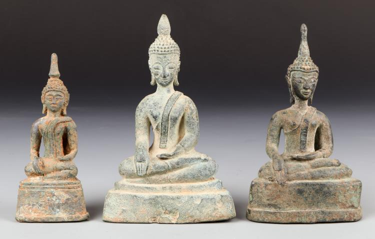 Three Antique Laos Buddhas