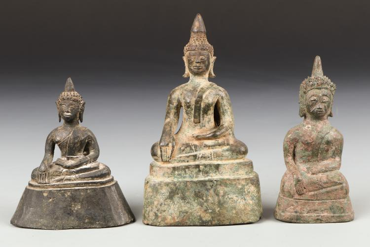Three Antique Laos Buddha, 18th Century