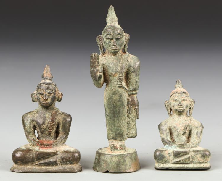 3 Rare Antique Sri Lankan Bronze Buddhas